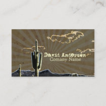 Rustic southwestern ranch desert cactus business card