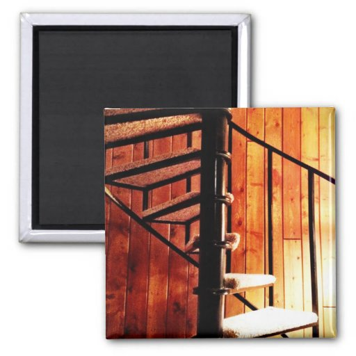Rustic Spiral Staircase at Cabin 2 Inch Square Magnet