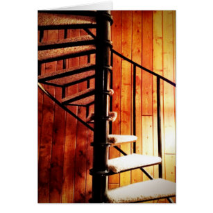 Rustic Spiral Staircase At Cabin Card