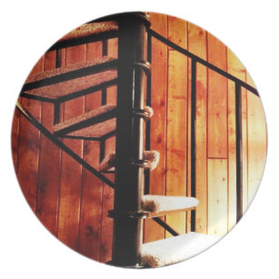 Rustic Spiral Staircase At Cabin Plate