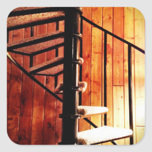 Rustic Spiral Staircase At Cabin Square Sticker