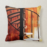 Rustic Spiral Staircase at Cabin Throw Pillow