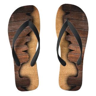 Rustic Splintered Wood Woodgrain Look Flip Flops