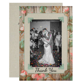 Rustic Spring Blossoms Wedding Thank You Card