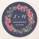 """Rustic Spring Flower Wreath Monogram Wedding Party Round Paper Coaster<br><div class=""""desc"""">Vintage and rustic personalized floral wreath coaster for your wedding reception, engagement dinner party, bridal shower or any special celebration. Decorated with watercolor drawing of flowers and leaves. Celebrate beautiful colors of the spring season. Customize the wording for anything. You can also customize the background color to your desired color...</div>"""