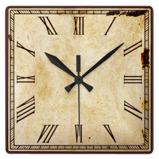 Rustic Square Roman Numeral Clock Face