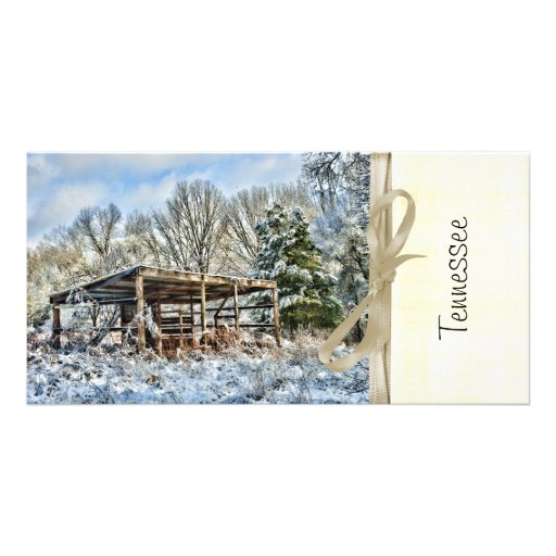 Rustic Stable in the Snow - Tennessee Photo Greeting Card