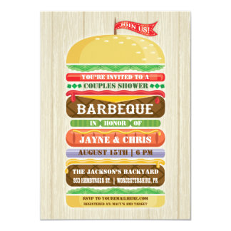 Rustic Stacked Hamburger Couples Shower BBQ 4.5x6.25 Paper Invitation Card
