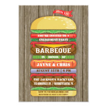 Rustic Stacked Hamburger Engagement Party BBQ 2 4.5x6.25 Paper Invitation Card