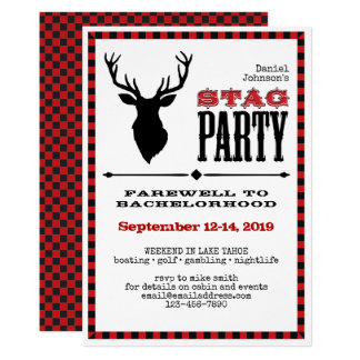 Rustic Stag Bachelor Party on White Card