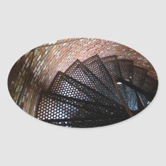 Rustic Staircase with Rope Handrail Oval Sticker