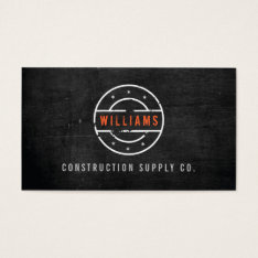 Rustic Stamped Logo On Black Wood Construction Business Card at Zazzle