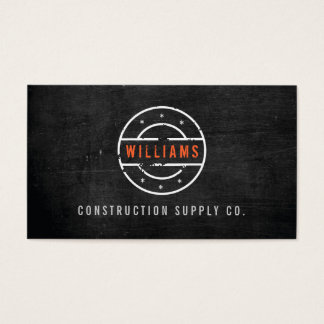Rustic Stamped Logo on Black Wood Construction Business Card