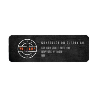 Rustic Stamped Logo on Black Wood Construction Label