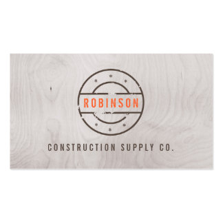 Rustic Stamped Logo on Gray Woodgrain Construction Double-Sided Standard Business Cards (Pack Of 100)