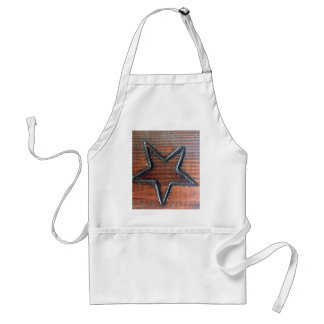 Rustic Star Burned into Wood Table Pyrography Adult Apron