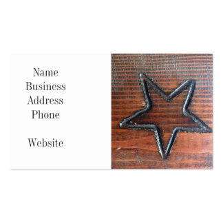 Rustic Star Burned into Wood Table Pyrography Business Card Template