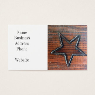 Rustic Star Burned into Wood Table Pyrography Business Card