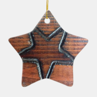 Rustic Star Burned into Wood Table Pyrography Ceramic Ornament