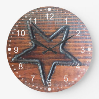 Rustic Star Burned into Wood Table Pyrography Wallclock