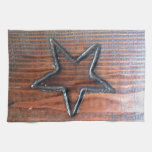 Rustic Star Burned into Wood Table Pyrography Kitchen Towels