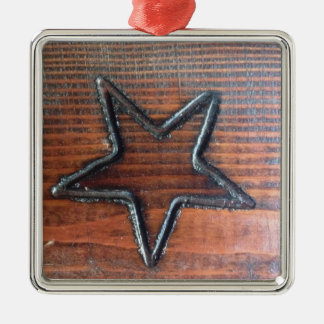 Rustic Star Burned into Wood Table Pyrography Metal Ornament