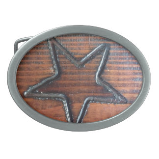 Rustic Star Burned into Wood Table Pyrography Oval Belt Buckle