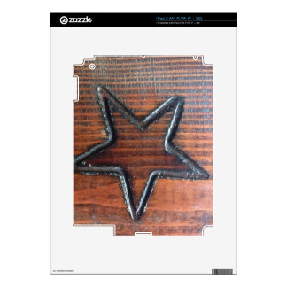 Rustic Star Burned into Wood Table Pyrography Skins For The iPad 2