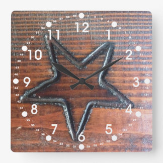 Rustic Star Burned into Wood Table Pyrography Square Wall Clock