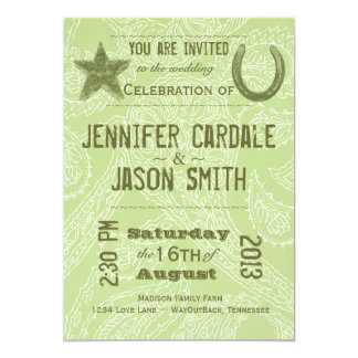 Rustic Star Horseshoe Sage Paisley Wedding Invites