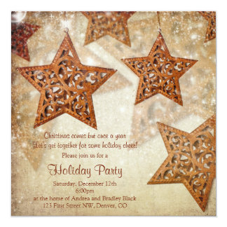 Rustic Star Tree Ornaments Christmas Party Card