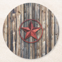 Rustic Star & Wooden Boards (Red) Round Paper Coaster