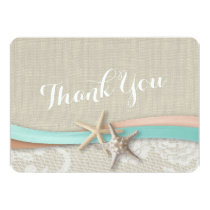 Rustic Starfish and Ribbon Flat Card Thank You