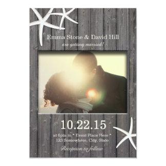 Rustic Starfish & Barn Wood Photo Wedding 5x7 Paper Invitation Card