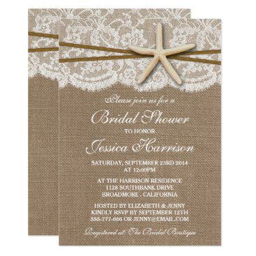 Beach Themed Rustic Starfish Beach Bridal Shower Invitations