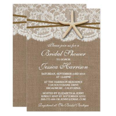starfish and ribbon bridal shower invitation zazzlecom