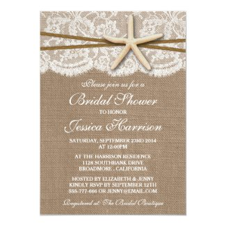 "Rustic Starfish Beach Bridal Shower Invitations 5"" X 7"" Invitation Card"