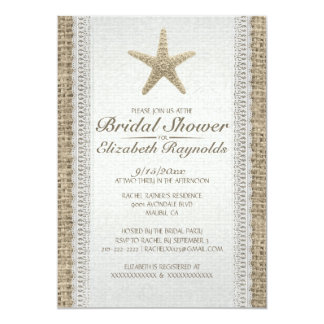 Rustic Starfish Beach Bridal Shower Invitations Custom Invite