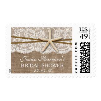 Rustic Starfish Beach Bridal Shower Postage