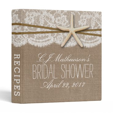 Beach Themed Rustic Starfish Beach Bridal Shower Recipe 3 Ring Binder