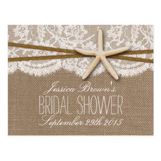 Rustic Starfish Beach Bridal Shower Recipe Card