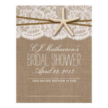 Beach Themed Rustic Starfish Beach Bridal Shower Recipe Divider Letterhead