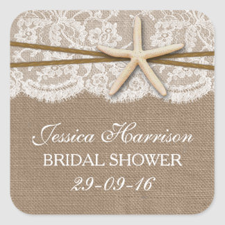 Rustic Starfish Beach Bridal Shower Square Sticker
