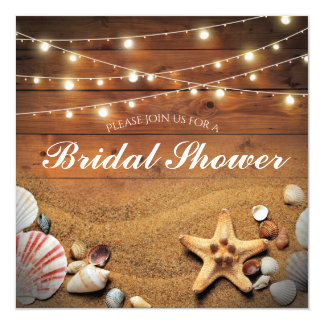 Rustic Starfish Beach Light Tropical Bridal Shower Card