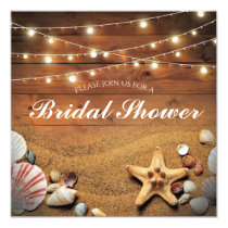Rustic Starfish Beach Light Tropical Bridal Shower Invitation