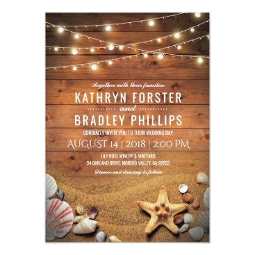 special_stationery Rustic Starfish Beach Lights Tropical Wedding Card