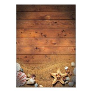 Rustic Starfish Beach Lights Tropical Wedding Invitation