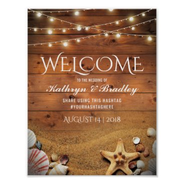 Beach Themed Rustic Starfish Beach Lights Tropical Wedding Poster