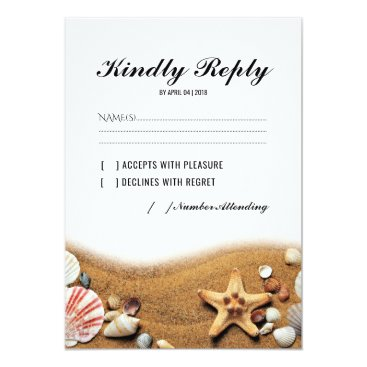 special_stationery Rustic Starfish Beach Lights Tropical Wedding RSVP Card