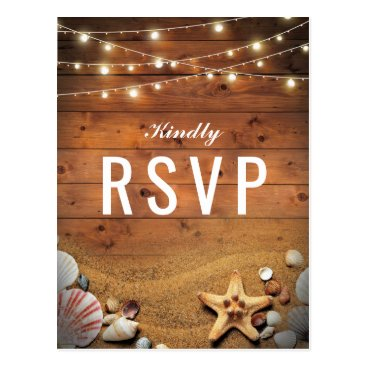 special_stationery Rustic Starfish Beach Lights Tropical Wedding RSVP Postcard